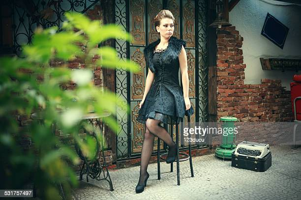 retro fashion - beautiful women in pantyhose stock pictures, royalty-free photos & images