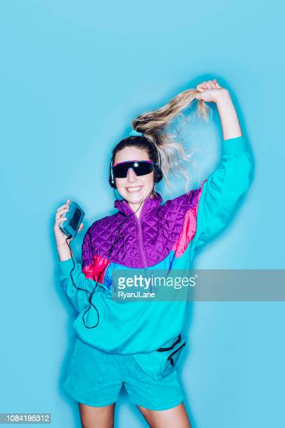 retro fashion style woman eighties era - fashion oddities stock pictures, royalty-free photos & images