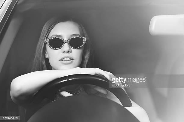 retro fashionable driver woman
