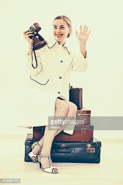 Retro Female Photographer Traveling