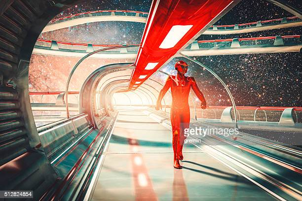 retro futuristic sci-fi concept, commander, skybridge - space exploration stock pictures, royalty-free photos & images