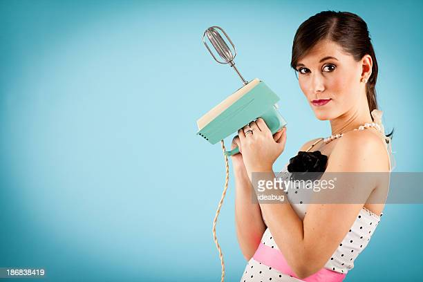 Retro Gal With Attitude, Holding Vintage Electric Mixer