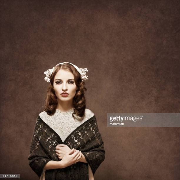 retro girl portrait - shawl stock photos and pictures