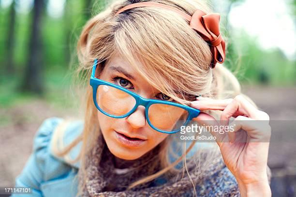 Retro Menina com óculos