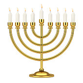 Retro Golden Hanukkah Menorah with Burning Candles. 3d Rendering