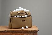 studio shot golf bag with golf