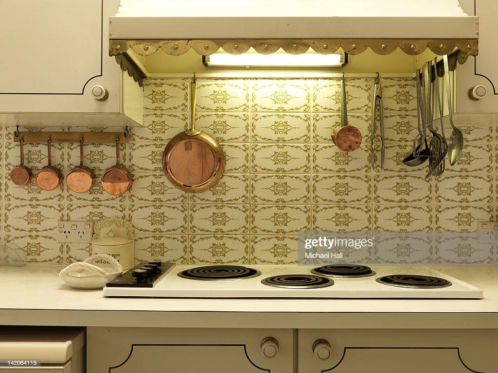 Retro house interior kitchen : Stock Photo