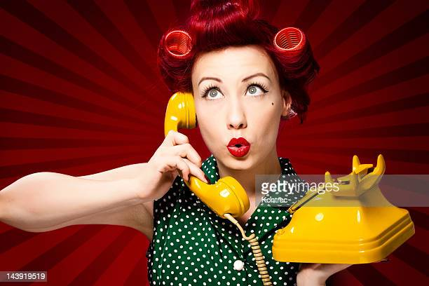 Retro housewife on the phone