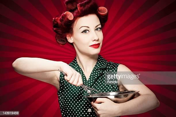 retro hausfrau - female whipping stock-fotos und bilder