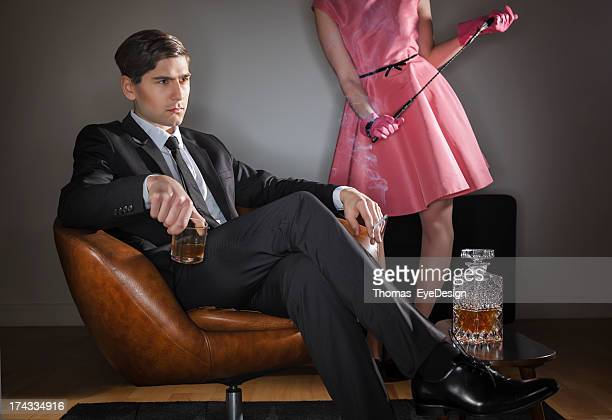 Retro husband drinking and smoking
