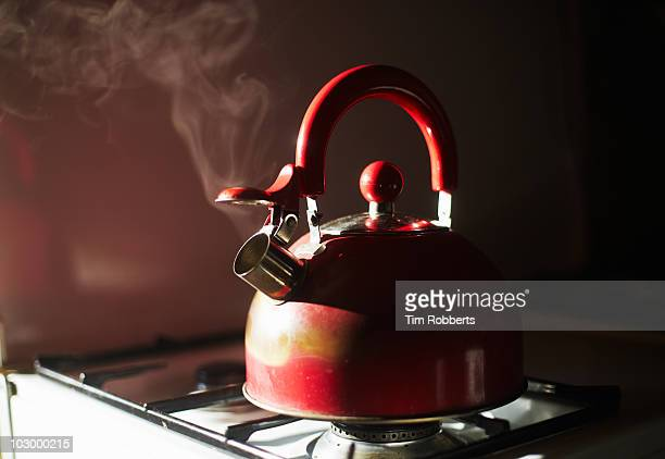 retro kettle boiling. - boiling stock pictures, royalty-free photos & images