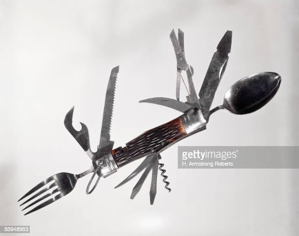 Retro Large Multi Tool Folding Pocket Knife Fork Spoon Scissors Saw Can Opener Corkscrew Screwdriver Awl