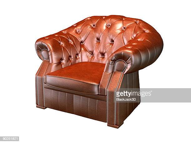 Retro leather armchair isolated on white