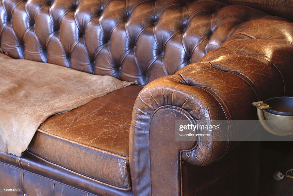 Retro Leather Sofa High Res Stock Photo