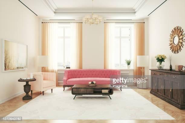retro living room interior design - art deco furniture stock pictures, royalty-free photos & images