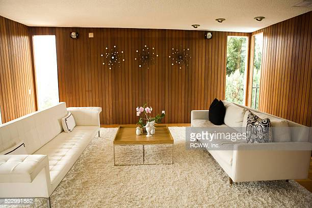 retro living room - mid century modern stock pictures, royalty-free photos & images