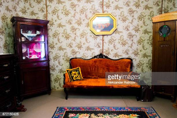 Retro livingroom furniture and wallpaper