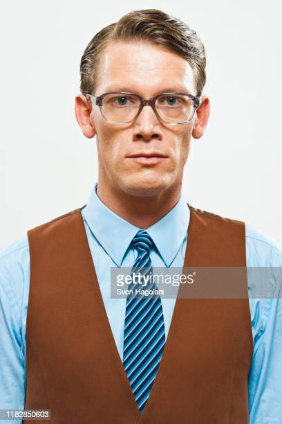 a retro looking man in a vest and shirt and tie - hair part stock pictures, royalty-free photos & images