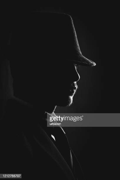 retro man in hat wears suit and tie - privateinvestigator stock pictures, royalty-free photos & images