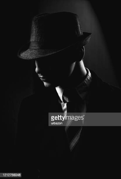 retro man in hat wears suit and tie - fedora stock pictures, royalty-free photos & images