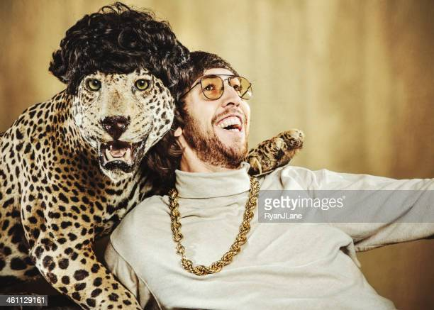 Retro Man Poses with Wig Wearing Leopard
