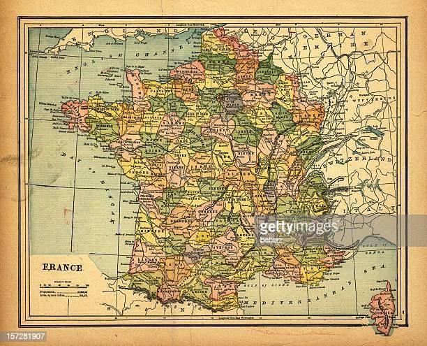 rétro carte de france - carte france photos et images de collection