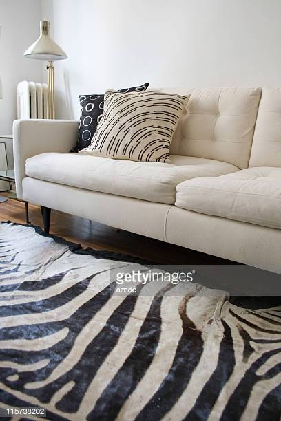 retro modern white interior - animal pattern stock pictures, royalty-free photos & images