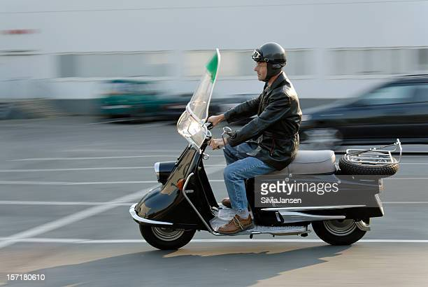 retro motor-scooter - moped stock photos and pictures