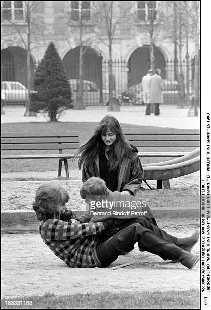 Retro Nadine Trintignant Marie Trintignant and Vincent Trintignant in 1980