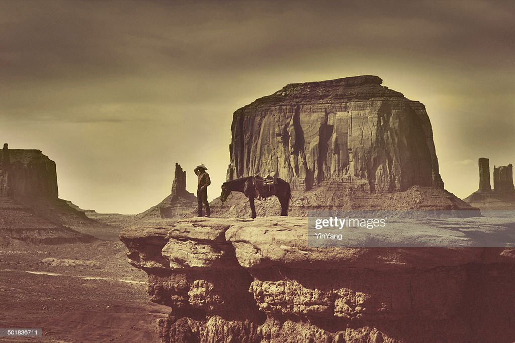 Retro Native American Cowboy in Southwest Monument Valley Tribal Park : Stock Photo