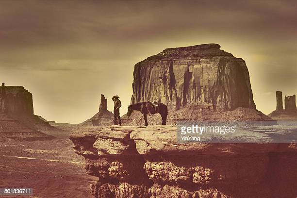 Retro Native American Cowboy in Southwest Monument Valley Tribal Park