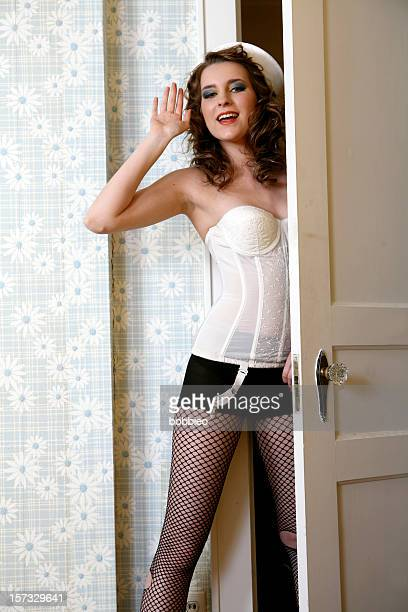 retro navy beauty - vintage garter belt stock photos and pictures