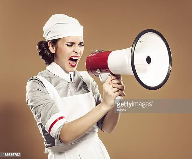 Retro nurse with megaphone