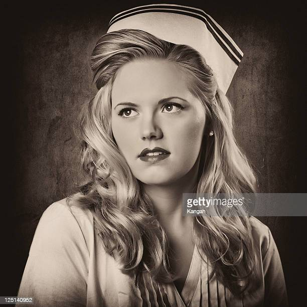 retro nurse-sepia toned - 1940s erotica stock photos and pictures