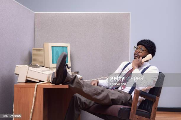 retro office worker at cubicle computer workstation - funny customer service stock pictures, royalty-free photos & images