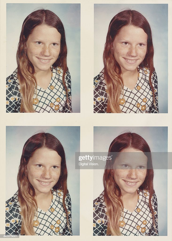 Retro Passport Photos of a Teenage Girl : Stock Photo