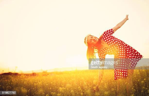 Retro photo of a woman outdoors