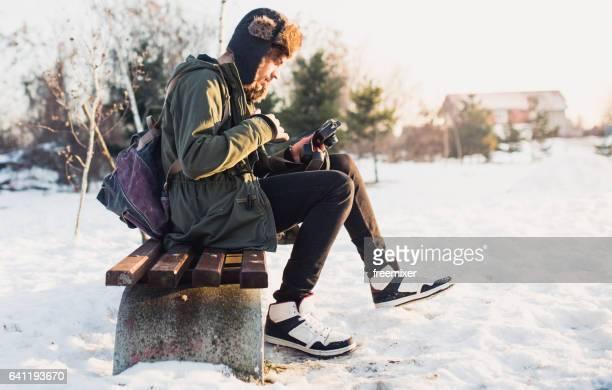 Retro photographer in winter