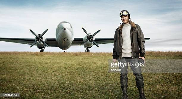 Retro pilot and his airplane