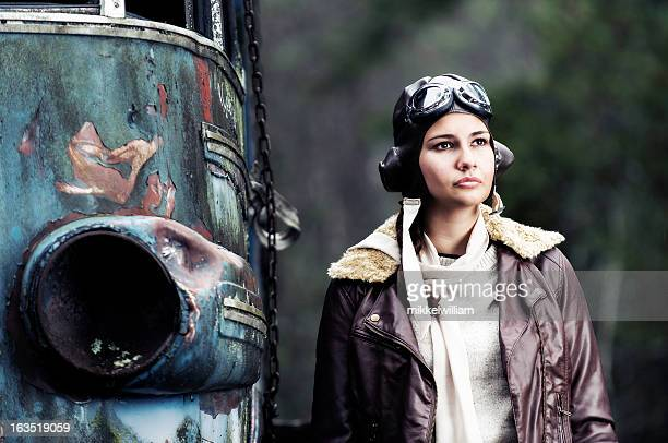 retro portrait of a female aviator - bomber jacket stock pictures, royalty-free photos & images