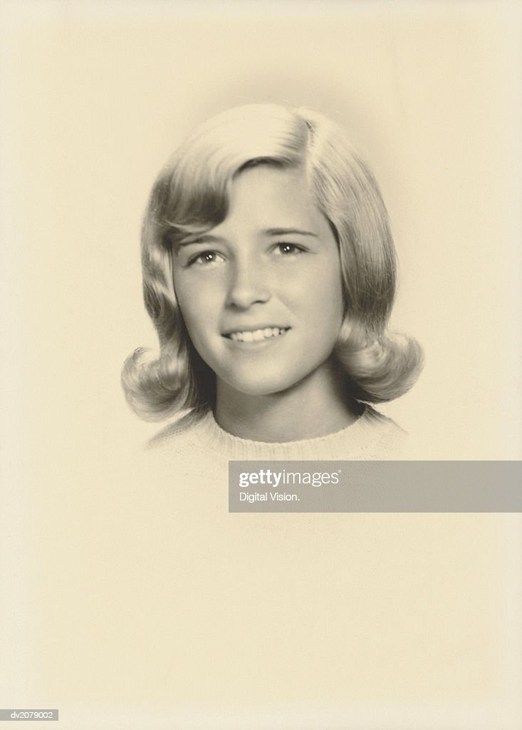 Retro Portrait of a Young Girl With Blonde Hair : Stock Photo