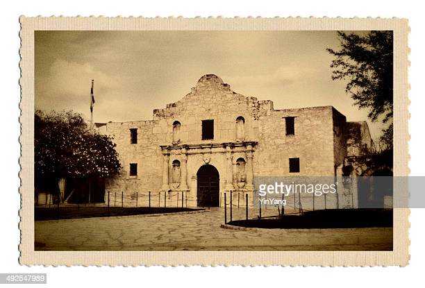 retro postcard of mission alamo in san antonio texas usa - san antonio texas stock photos and pictures