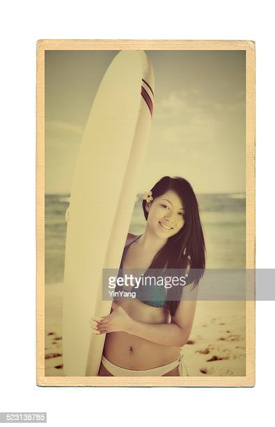 Retro Postcard of Surfer with Surfboard on the Beach of Hawaii