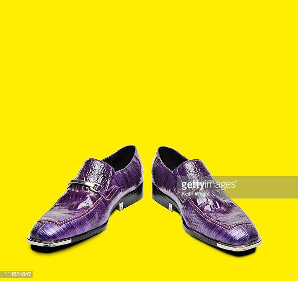 Retro Purple Shoes on Yellow Background