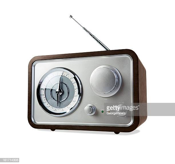 retro radio on white background with clipping path - radio stock pictures, royalty-free photos & images