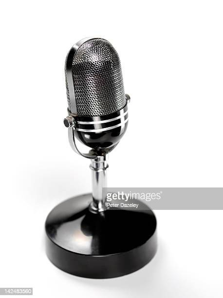Retro radio studio microphone with copy space