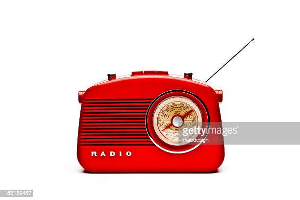 retro red radio set, studio isolated - radio stock pictures, royalty-free photos & images