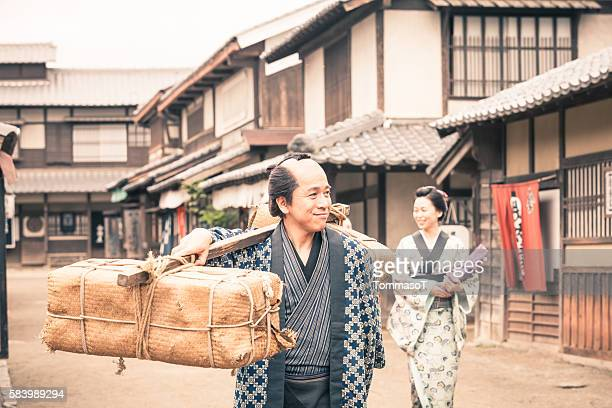 Retro revival view of people in traditional japanese clothes