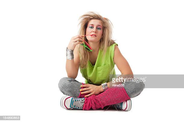 retro revival: young blond woman with 80s hairstyle and makeup - 80s rock music stock photos and pictures