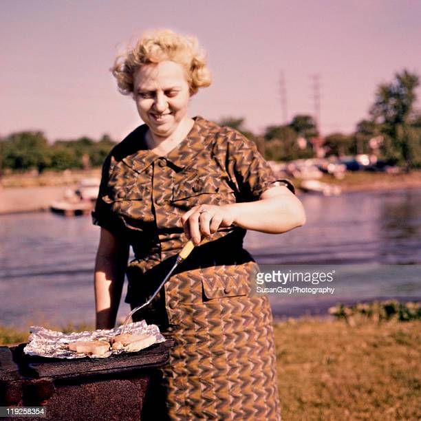 retro revival-style barbeque - 1950 1959 stock pictures, royalty-free photos & images